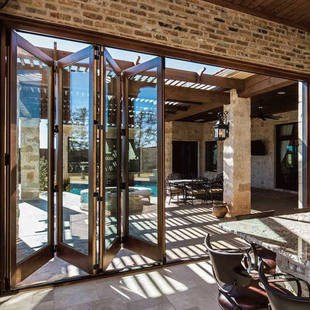 architect series bifold patio door open wood trim